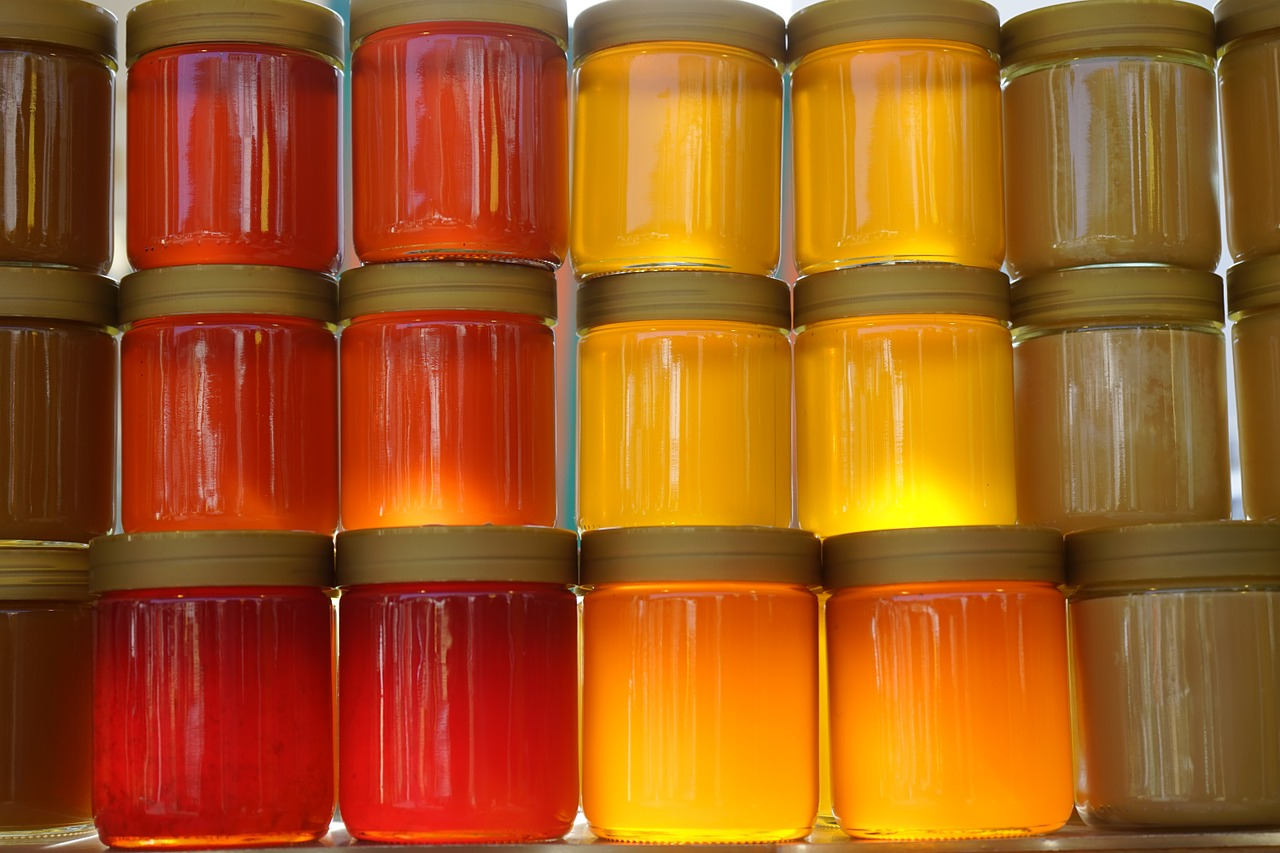 honey, honey jars, forest honey